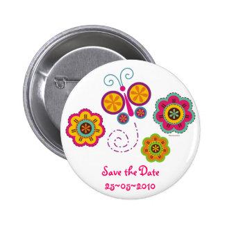 Schmetterlings-Garten kundenspezifischer Pinback K Runder Button 5,1 Cm
