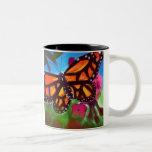 Schmetterlings-Garten-Tasse 11oz (Weiß/Schwarzes)