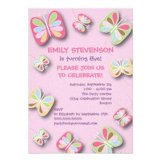 Schmetterlings-Geburtstags-Party Einladungs-Rosa Personalisierte Ankündigung