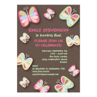 Schmetterlings-Geburtstags-Party Einladungs-Rosa Ankündigung