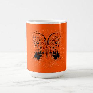 Schmetterlings-Glitzern ORANGE Kaffeetasse