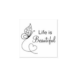 Schmetterlings-Herz - das Leben ist schön Gummistempel