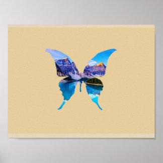 Schmetterlings-Illusions-Natur-Plakat Poster