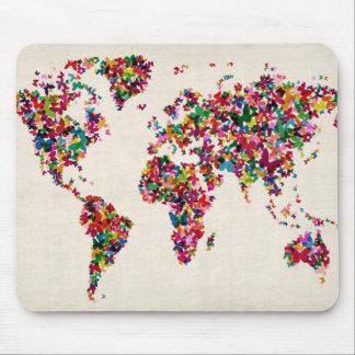 Schmetterlings-Karte der Weltkarte Mauspads