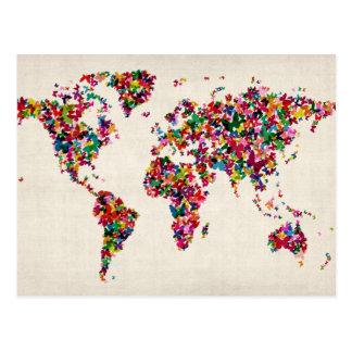 Schmetterlings-Karte der Weltkarte Postkarte