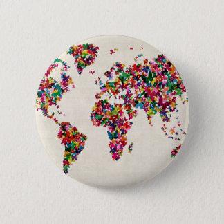 Schmetterlings-Karte der Weltkarte Runder Button 5,7 Cm