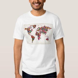 Schmetterlings-Karte der Weltkarte Tshirts