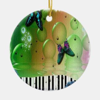 Schmetterlings-Klavier-Schlüssel Rundes Keramik Ornament