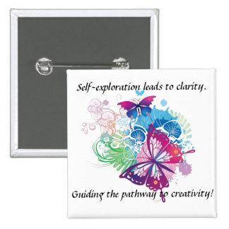 Schmetterlings-Knopf. Inspiration ist mit Ihnen Quadratischer Button 5,1 Cm