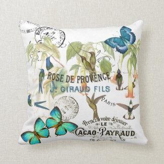 Schmetterlings-Kolibri-Blumen-französisches Kissen