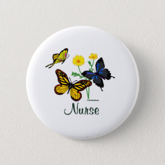 Schmetterlings-Krankenschwester Runder Button 5,1 Cm