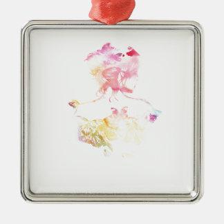 Schmetterlings-Mädchen Silbernes Ornament