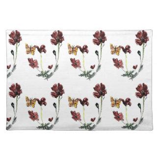 Schmetterlings-Mohnblumen-Blumen-Illustration Stofftischset