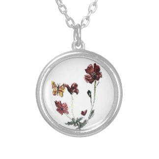 Schmetterlings-Mohnblumen-Blumenkunst Versilberte Kette