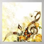 Schmetterlings-Musiknoten-Plakat Poster