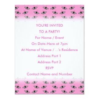 Schmetterlings-Muster auf Rosa 10,8 X 14 Cm Einladungskarte