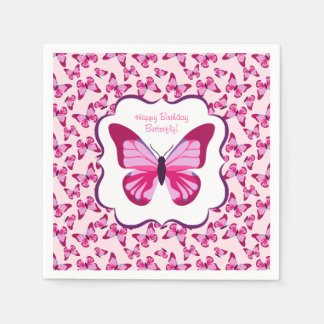 Schmetterlings-Muster-hübsches rosa Lila Papierserviette