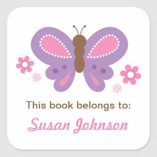 Schmetterlings-Namensaufkleber für Kinder Quadratischer Aufkleber