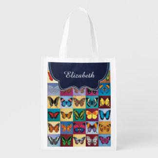 Schmetterlings-Patchwork besonders angefertigt Wiederverwendbare Einkaufstasche