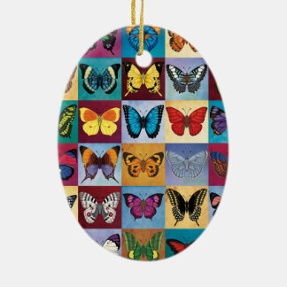 Schmetterlings-Patchwork Keramik Ornament