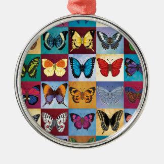 Schmetterlings-Patchwork Silbernes Ornament