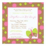 Schmetterlings-Polka-Babyparty-Einladung des Quadratische 13,3 Cm Einladungskarte