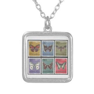 Schmetterlings-Porto-Briefmarken Versilberte Kette