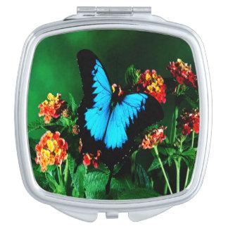 Schmetterlings-quadratischer kompakter Spiegel Taschenspiegel