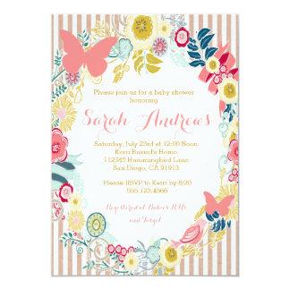 Schmetterlings-rosa Babyparty-Mädchenmit 12,7 X 17,8 Cm Einladungskarte