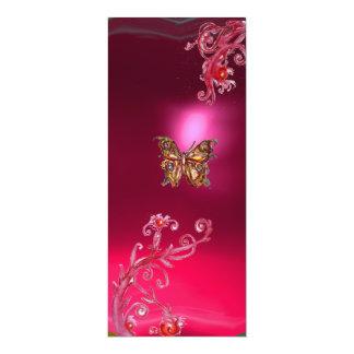 SCHMETTERLINGS-RUBIN, helles rotes rosa Veilchen 10,2 X 23,5 Cm Einladungskarte