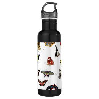 Schmetterlings-Sammlungs-Collage Trinkflasche