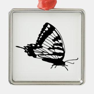 Schmetterlings-Silhouette Silbernes Ornament