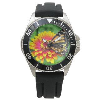Schmetterlings-Sonnenblume-Edelstahl-Uhr Uhr