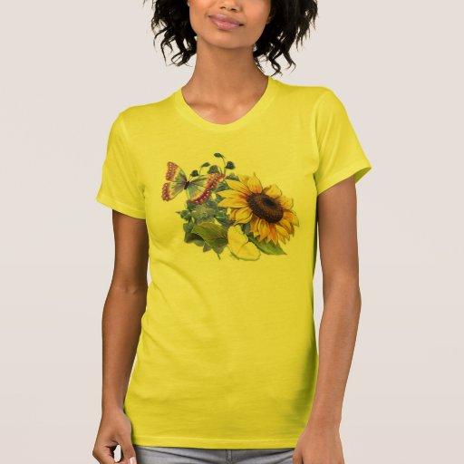 Schmetterlings-Sonnenblume-Garten Shirt