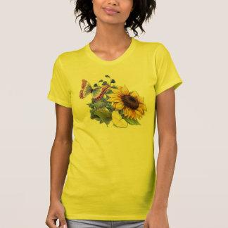 Schmetterlings-Sonnenblume-Garten Tshirts