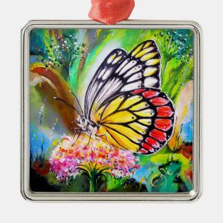 Schmetterlings-Traum Quadratisches Silberfarbenes Ornament