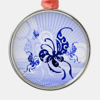 Schmetterlings-Träume Rundes Silberfarbenes Ornament
