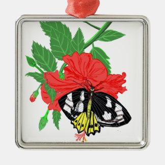 Schmetterlings-trinkender Nektar Silbernes Ornament