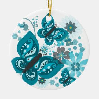 Schmetterlings-u. Blumen-Kreis-Verzierung Keramik Ornament