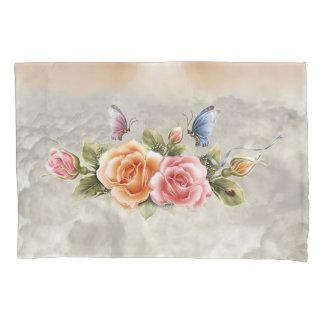 Schmetterlings-und der Rosen-(1 Seite) Kissenbezug
