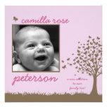 Schmetterlingsbaummädchen-Geburtsmitteilung Personalisierte Einladungskarte