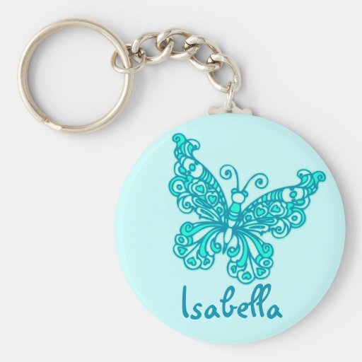 Schmetterlingsmädchen-Aqua blaues Namenskeychain Schlüsselband
