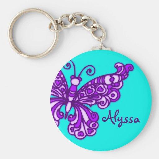Schmetterlingsmädchen-Aqua lila Namenskeychain Schlüsselbänder