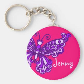 Schmetterlingsmädchen lila rosa Namenskeychain Standard Runder Schlüsselanhänger
