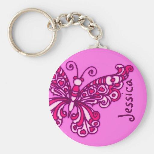 Schmetterlingsmädchen rosa Namenskeychain Schlüsselbänder