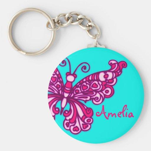 Schmetterlingsmädchenaquarosa-Name keychain Schlüsselanhänger