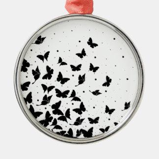 Schmetterlingsmuster Silbernes Ornament