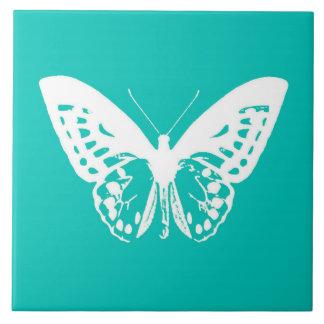 Schmetterlingsskizze, -Türkis und -WEISS Keramikfliese