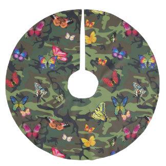 Schmetterlingstarnungsweihnachtsweihnachtsbaumrock Polyester Weihnachtsbaumdecke