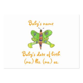 Schmetterlingstaschen-Geburtsmitteilung Mini-Visitenkarten